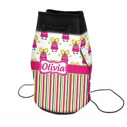 Pink Monsters & Stripes Neoprene Drawstring Backpack (Personalized)