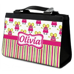 Pink Monsters & Stripes Classic Tote Purse w/ Leather Trim (Personalized)