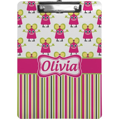 Pink Monsters & Stripes Clipboard (Personalized)