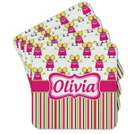 Pink Monsters & Stripes Cork Coaster - Set of 4 w/ Name or Text