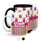 Pink Monsters & Stripes Coffee Mugs (Personalized)
