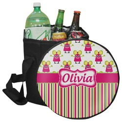 Pink Monsters & Stripes Collapsible Cooler & Seat (Personalized)
