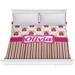 Pink Monsters & Stripes Comforter - King (Personalized)