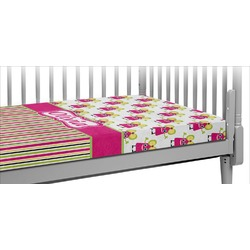 Pink Monsters & Stripes Crib Fitted Sheet (Personalized)