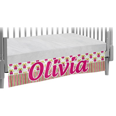 Pink Monsters & Stripes Crib Skirt (Personalized)
