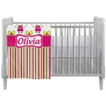 Pink Monsters & Stripes Crib Comforter / Quilt (Personalized)