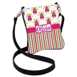 Pink Monsters & Stripes Cross Body Bag - 2 Sizes (Personalized)