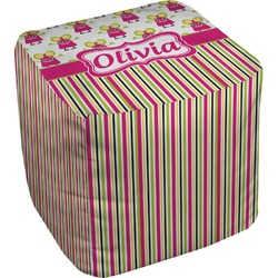 Pink Monsters & Stripes Cube Pouf Ottoman (Personalized)