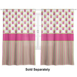 "Pink Monsters & Stripes Curtains - 40""x84"" Panels - Unlined (2 Panels Per Set) (Personalized)"