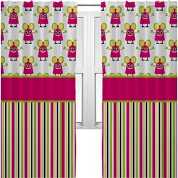 Pink Monsters & Stripes Curtains (2 Panels Per Set) (Personalized)