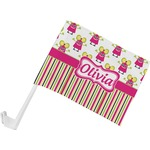 Pink Monsters & Stripes Car Flag (Personalized)