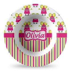 Pink Monsters & Stripes Plastic Bowl - Microwave Safe - Composite Polymer (Personalized)