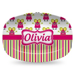 Pink Monsters & Stripes Plastic Platter - Microwave & Oven Safe Composite Polymer (Personalized)