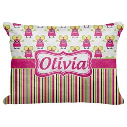Pink Monsters & Stripes Decorative Baby Pillowcase - 16