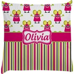 Pink Monsters & Stripes Decorative Pillow Case (Personalized)
