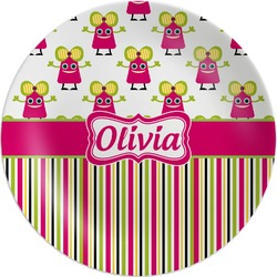 Pink Monsters & Stripes Melamine Plate (Personalized)