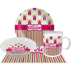 Pink Monsters & Stripes Dinner Set - 4 Pc (Personalized)