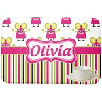 Pink Monsters & Stripes Dish Drying Mat (Personalized)