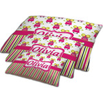 Pink Monsters & Stripes Dog Bed w/ Name or Text