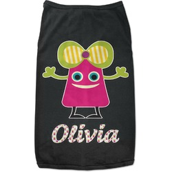 Pink Monsters & Stripes Black Pet Shirt (Personalized)
