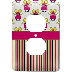 Pink Monsters & Stripes Electric Outlet Plate (Personalized)