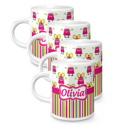 Pink Monsters & Stripes Espresso Mugs - Set of 4 (Personalized)