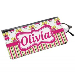 Pink Monsters & Stripes Genuine Leather Eyeglass Case (Personalized)