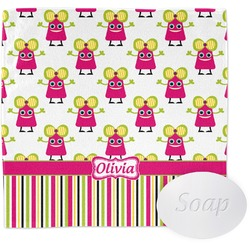 Pink Monsters & Stripes Wash Cloth (Personalized)