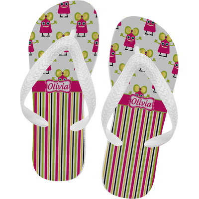 Pink Monsters & Stripes Flip Flops (Personalized)