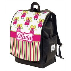 Pink Monsters & Stripes Backpack w/ Front Flap  (Personalized)