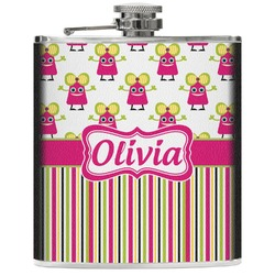 Pink Monsters & Stripes Genuine Leather Flask (Personalized)