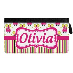 Pink Monsters & Stripes Genuine Leather Ladies Zippered Wallet (Personalized)