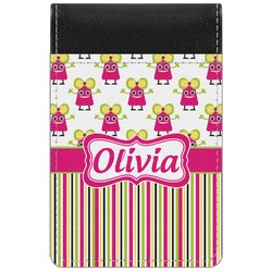 Pink Monsters & Stripes Genuine Leather Small Memo Pad (Personalized)