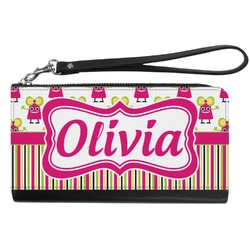 Pink Monsters & Stripes Genuine Leather Smartphone Wrist Wallet (Personalized)