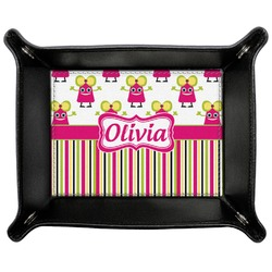 Pink Monsters & Stripes Genuine Leather Valet Tray (Personalized)