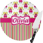 Pink Monsters & Stripes Round Glass Cutting Board (Personalized)