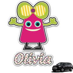 Pink Monsters & Stripes Graphic Car Decal (Personalized)