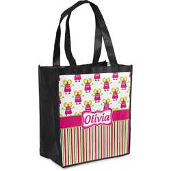 Pink Monsters & Stripes Grocery Bag (Personalized)