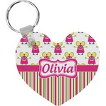 Pink Monsters & Stripes Heart Keychain (Personalized)