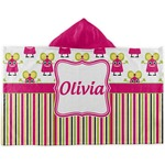Pink Monsters & Stripes Kids Hooded Towel (Personalized)
