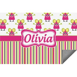 Pink Monsters & Stripes Indoor / Outdoor Rug (Personalized)