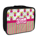 Pink Monsters & Stripes Insulated Lunch Bag (Personalized)