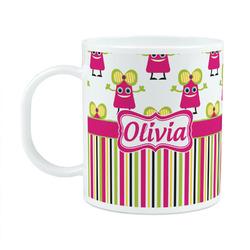 Pink Monsters & Stripes Plastic Kids Mug (Personalized)