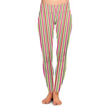 Pink Monsters & Stripes Ladies Leggings (Personalized)