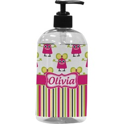 Pink Monsters & Stripes Plastic Soap / Lotion Dispenser (Personalized)