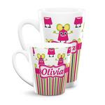 Pink Monsters & Stripes Latte Mug (Personalized)