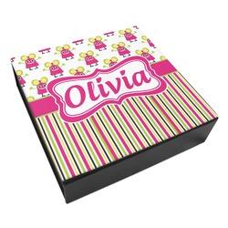 Pink Monsters & Stripes Leatherette Keepsake Box - 3 Sizes (Personalized)