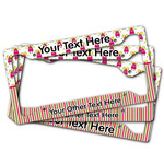 Pink Monsters & Stripes License Plate Frame (Personalized)