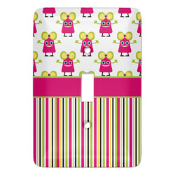 Pink Monsters & Stripes Light Switch Covers - Multiple Toggle Options Available (Personalized)