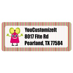 Pink Monsters & Stripes Return Address Label (Personalized)